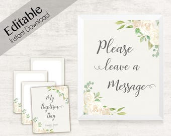 Baptism Testimony Cards Printable, Baptism Note Cards, Baptism Girl, Girl LDS Baptism Cards Printable with Cover, Baptism Flower White