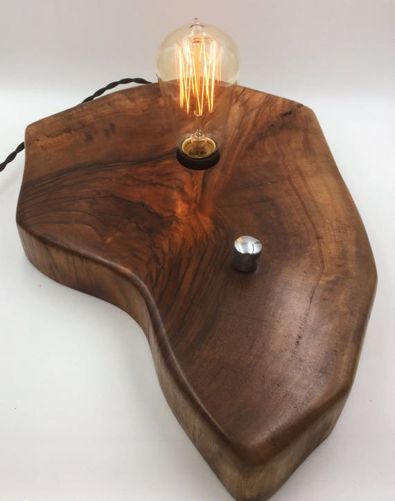 Live Edge Walnut Wood Block Desk Lamp. Edison Bulb and dimmer switch with Guitar Knob