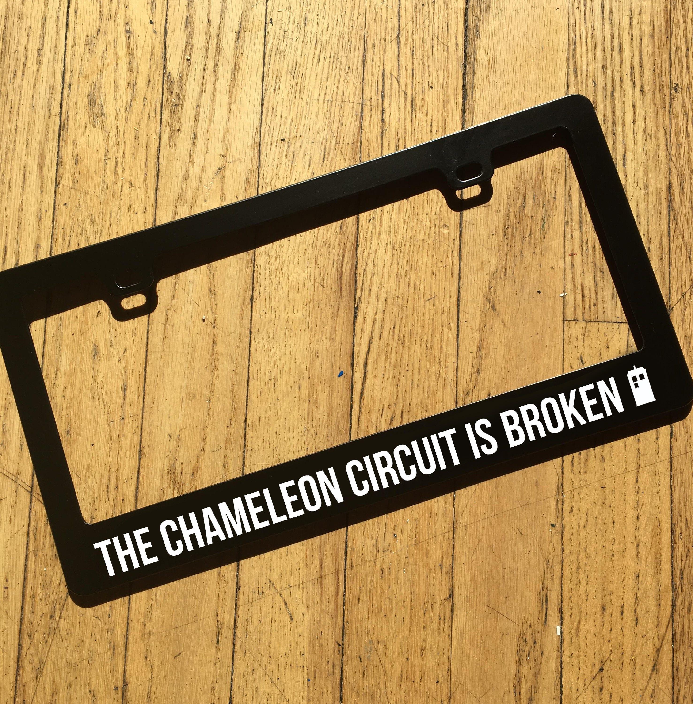 description doctor who inspired chameleon circuit license plate frame - Doctor Who License Plate Frame