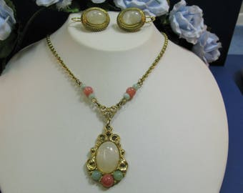 1928 Necklace Earrings Pastel Colors