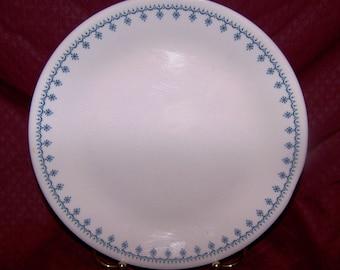 "Corelle Vintage Snowflake Blue Dinner Plate 10 1/4"" - EUC"