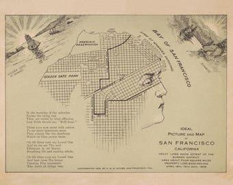 Rare San Francisco Bay Area Map Print, Design Print, Museum Quality,