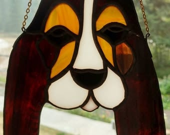 Stained Glass Sun catcher, Basset hound.  Handmade, copper foil with black patina