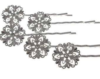 15pcs Bobby Pins - 20mm filigree glue pad - 63mm length - Blank, DIY