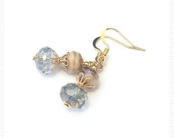 Gold earrings, gold plated earrings, gold dangle earrings, blue earrings, Crystal earrings, gift for her, birthday gift, blue crystal