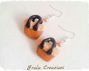 Polymer clay purse earrings