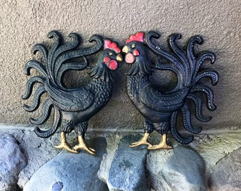 Vintage cast iron rooster plaque decoration wall hanging