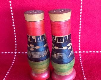 Vintage Florida Wood Salt and Pepper Shakers
