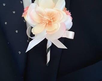 Blush wedding, Blush, pink and ivory boutonniere,  Romantic wedding
