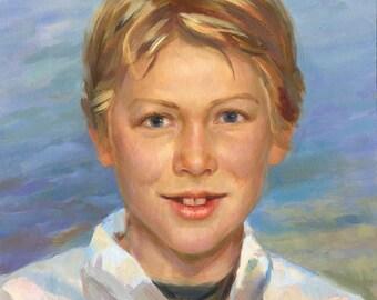 Custom oil portrait, Children portrait, Portrait from photo, Portrait gift, Birthday gift, impressionistic portrai, family gift