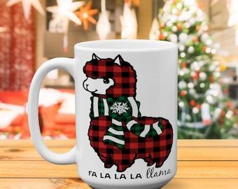 Llama Christmas/falalalala/Plaid/llama mug/Hot chocolate/gift for her/holiday/sarcastic mug/coffee mug/vodka mug/funny gift/christmas gift