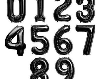 Black Metallic Foil Numbers 86cm Helium or Air Fill 1 one 2 two 8 eight 9 nine