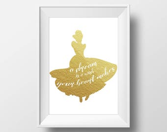 Wall Art Gold Foil Digital Cinderella Print,Cinderella Disney Quote Print,Printable Foil Disney,Glitter,Nursery Print,Baby Gift,Room Decor