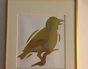 Framed Gold Foil Bird Picture