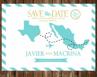 Printed- Save the Date-Mexico Save The Date; Destination Wedding