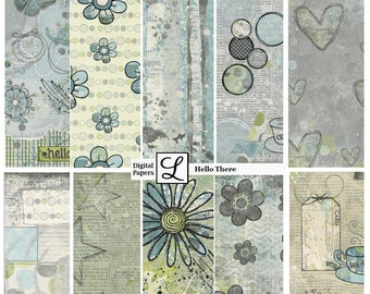 SALE 50% OFF - Hello There, gorgeous digi (digital) papers for scrapbooking and card making  - instant download in PDF format.