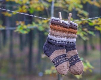 Brown Hand knitted wool socks