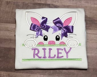Easter Shirt for Girls, Easter Bunny Shirt, Bunny with Bows Easter Shirt, Personalized Easter Shirt, Embroidered Easter Shirt for Girls,