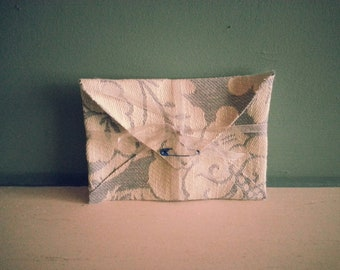 Grey/Blue Floral Design Handmade Fabric Envelope / Gift Pouch - ideal for invitations, gift vouchers, your own handmade cards
