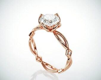 SALE! 14K Rose Gold Moissanite Engagement Ring  | Forever One Mossanite and Diamonds engagement ring | Charles & Colvard Moissanite