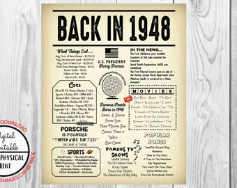70 Years Ago Back in 1948, 70th Birthday Poster Sign, Back in 1948 Newspaper Style Poster, Printable, Instant Download, Birthday Gift