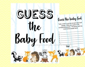 Guess the Baby Food Game, Guess the Baby Food Sign & Card, Boy or Girl Game, Printable, Baby Shower Party, Woodland Design style
