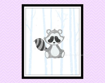 Woodland Nursery Decor, Woodland Animals Printable Wall Art, Racoon Wall Art Decor, Baby Wall Art Decor, Instant Download