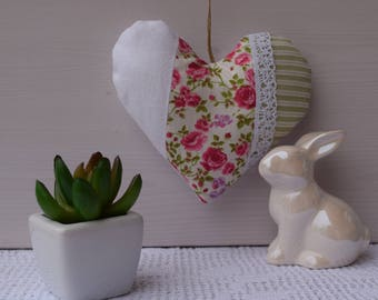 Fabric heart - heart decorative fabric, white, floral and stripes - canvas door pillow - heart hanging - shabby heart