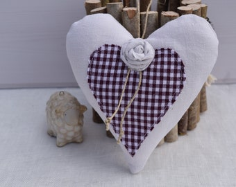 Heart white cloth with a heart in red gingham pallique - rack and pink fabric - heart cushion hanging heart decoration
