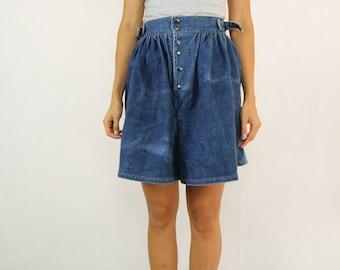VINTAGE 80s Denim High Waisted Shorts Skort Size XS 6-8
