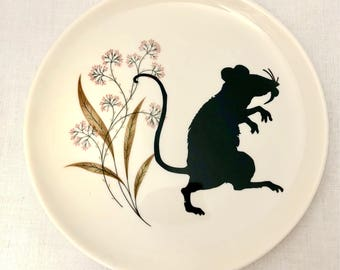 Altered Vintage plate Art Sneaky Rat on Floral Decor