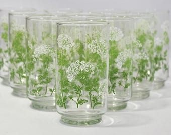 "Vintage Set of 10 "" Queen Anne Lace"" by Dia Green floral Drinking Glasses/ Dinner Glasses"