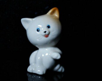Cat figurine porcelain miniature handmade kitten Souvenirs from Russia quality