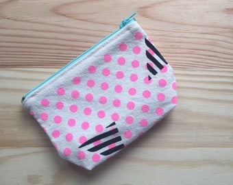"""Based """"technotronic"""" purse / wallet screen-printed on both sides / Boobie Power"""