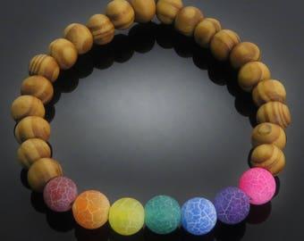 Rainbow Dyed Dragon's Vein Agate Stone & Wood Bead Bracelet surfer lgbt lesbian gay pride festival mens ladies jewellery accessory UK SELLER
