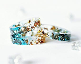 Clear Dark Blue Faceted Resin Ring With Gold Flakes - Resin Stacking Ring