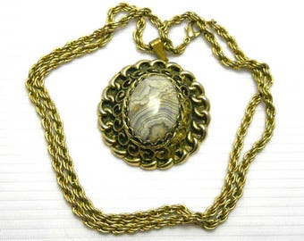 Grey Stone Gold Tone Pendant Vintage Necklace