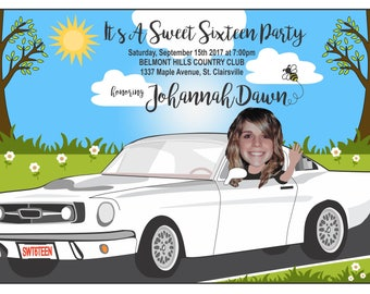 Custom Sweet Sixteen Birthday Invitation or Thank You Card, Custom Birthday Invitation, Photo Birthday Invitation, Custom Invitations