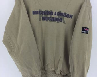 Vintage 90's Michiko London Sport Classic Design Skate Sweat Shirt Sweater Varsity Jacket Size M #A808