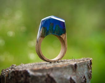 Wood ring, wooden ring, resin ring, epoxy ring, natural ring, womens ring, wood resin ring, handmade ring, handcrafted ring, unique ring