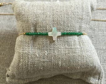 Jade and Pearl cross bracelet