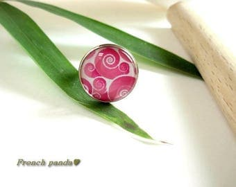 Beautiful Silver Adjustable ring glass cabochon
