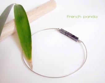 Thin minimalist bracelet, cubic Hematite.