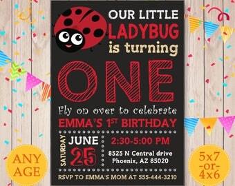 Ladybug Invitation, Ladybug birthday invitation, Printable Ladybug Party Invite, Ladybug Girl first birthday invite, 1st birthday invitation