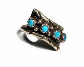 SOUTHWEST SILVER RING Size 6 1/2 Vintage Turquoise Ring Native American Vintage Jewelry Silver Band Ring