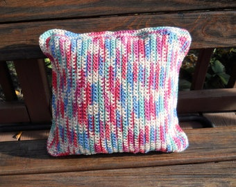 Decorative Pillow / Handmade / Crocheted / Variegated / Red / Green / Blue / Cream