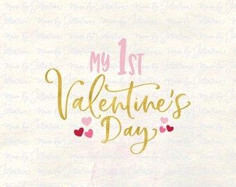 My first Valentine svg, 1st valentines svg, baby valentine svg, babies first svg, onesie svg valentine, baby first svg, baby girl svg, dxf