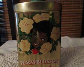 Large Peach Blossom Talc in Metal Tin (1970s)