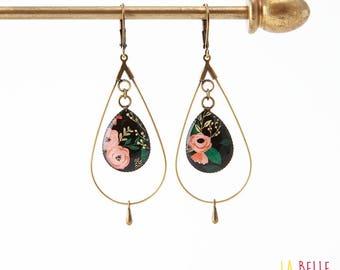 drop hoop earrings resin black floral pattern