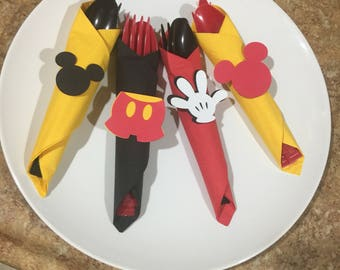 Mickey mouse birthday party cutlery. Wrapped utensils, Mickey mouse party supplies, Napkins with cutlery.Mickey party decor